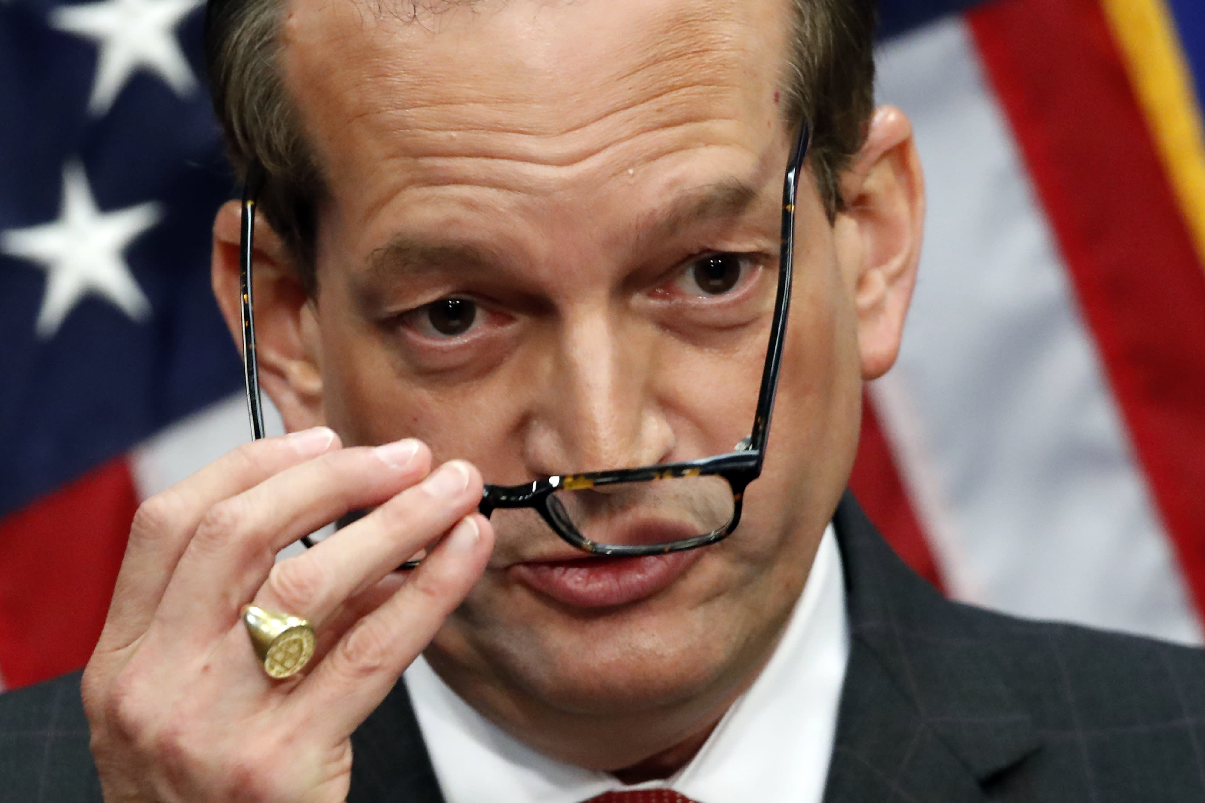 Labor Secretary Alex Acosta speaks during a news conference at the Department of Labor, Wednesday, July 10, 2019, in Washington. (AP Photo/Alex Brandon)