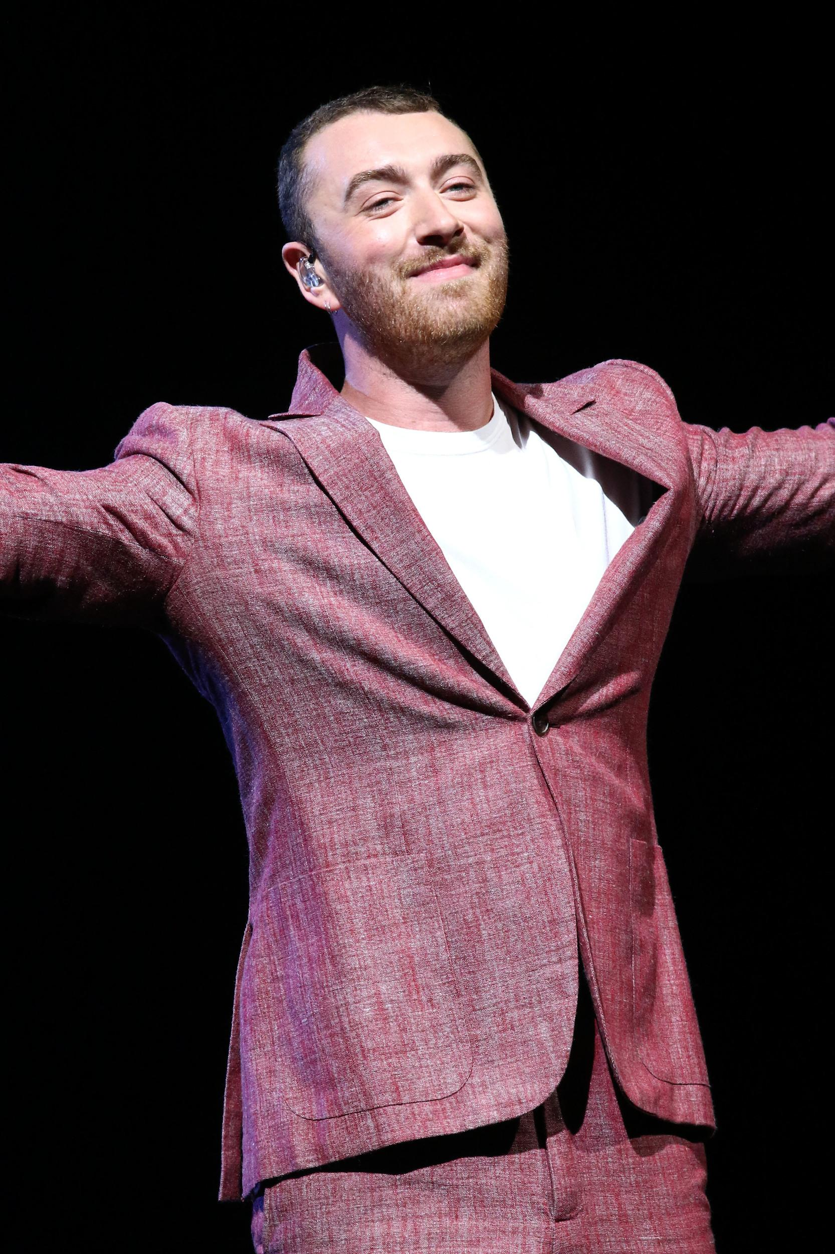 EDITORIAL USE ONLY Sam Smith performs in concert at Madison Square Garden in New York.