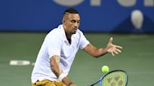 Nick Kyrgios asks a fan where to serve, then hits an ace