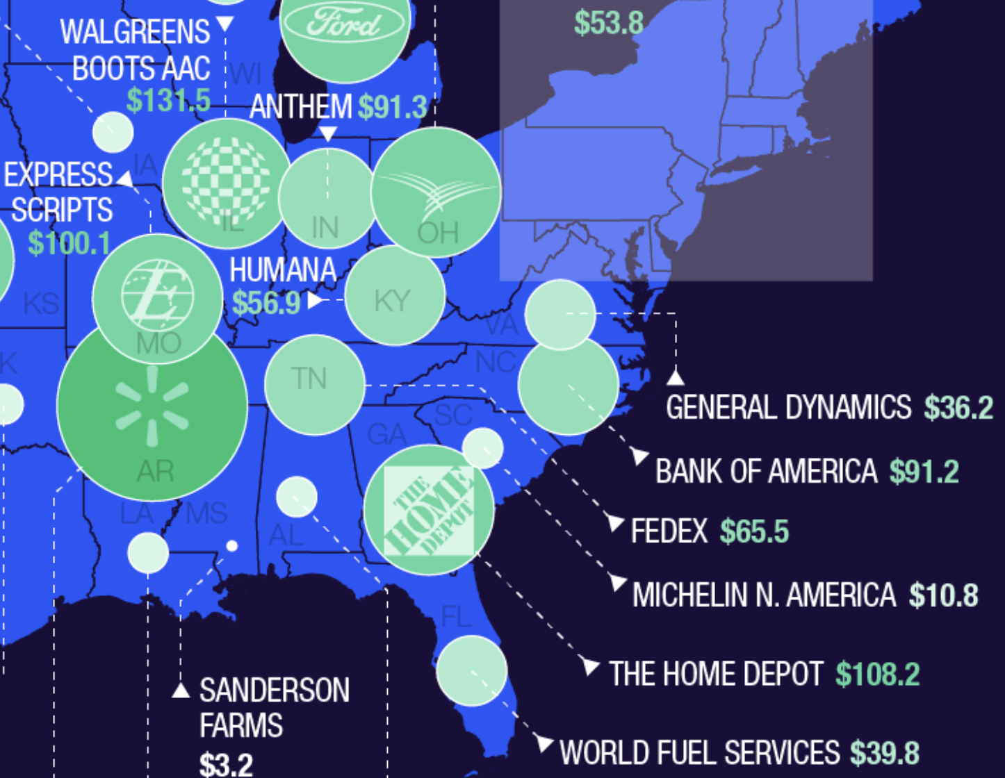 These are the largest companies in each U.S. state on walmart state maps, rand mcnally state maps, aol state maps, google state maps, bing state maps, brazil state maps, amazon state maps, microsoft state maps, europe state maps, mapquest state maps,