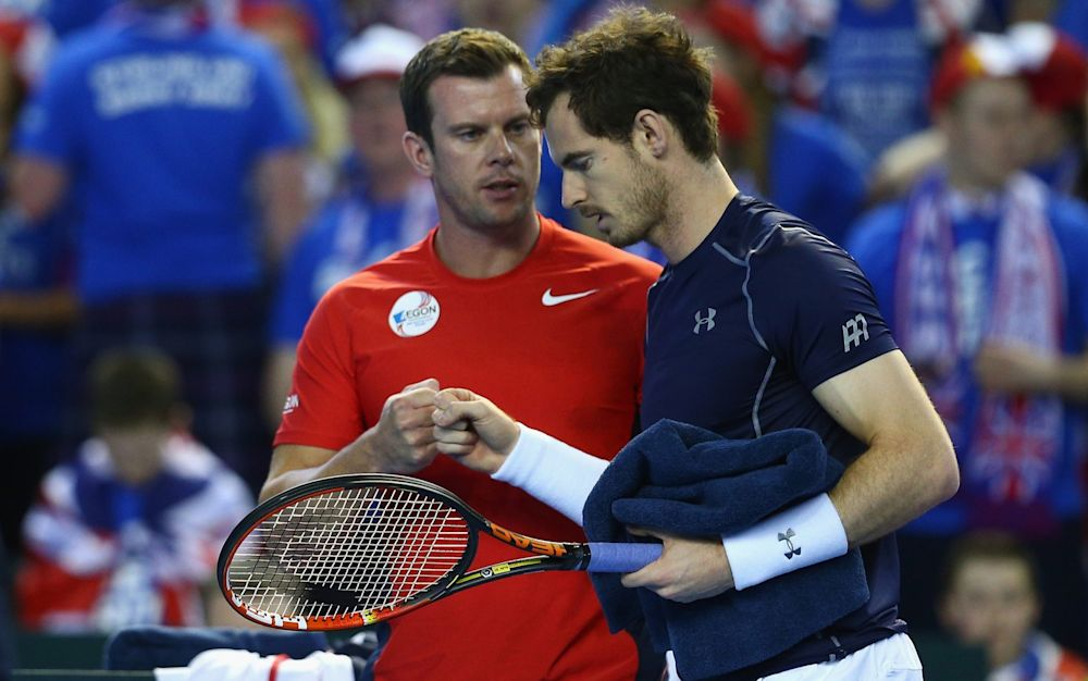 Britain's Davis Cup captain Leon Smith with Andy Murray last year - Getty Images Sport