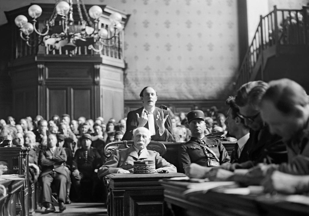 Marshal Philippe Pétain (1856-1951), the former French chief-of-state during Nazi occupation of France, sits at his trial in July 1945 in Paris