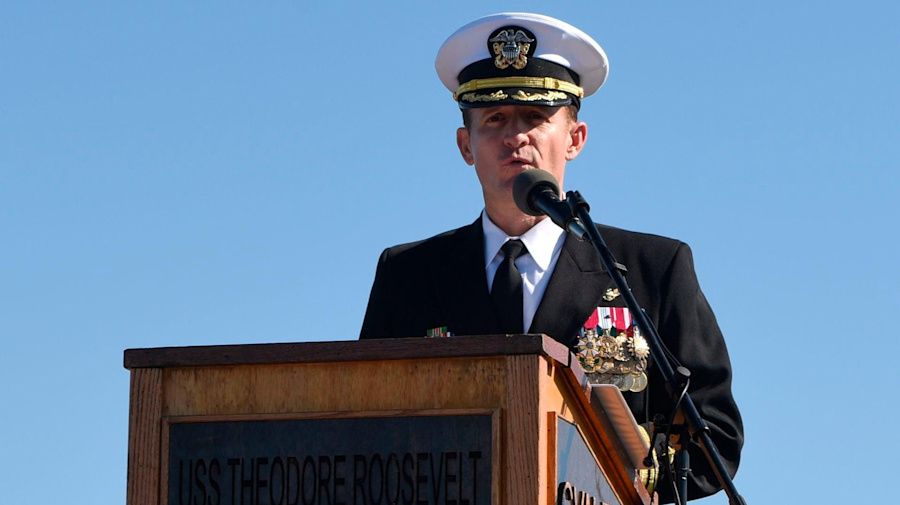 Fired Navy captain gets huge send-off from his crew