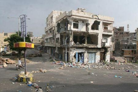 Damaged building is pictured in the war-torn southwestern city of Taiz