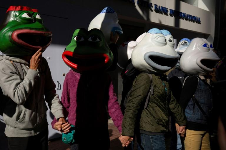 A group of activists joined the crowds wearing colourful Pepe, pig and shiba masks made out of fibreglass, their wobbly heads in stark relief against a vast forrest of umbrellas as the crowds marched (AFP Photo/Alastair Pike)
