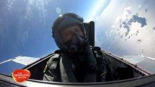 Sneak peek at Larry flying in a fighter jet