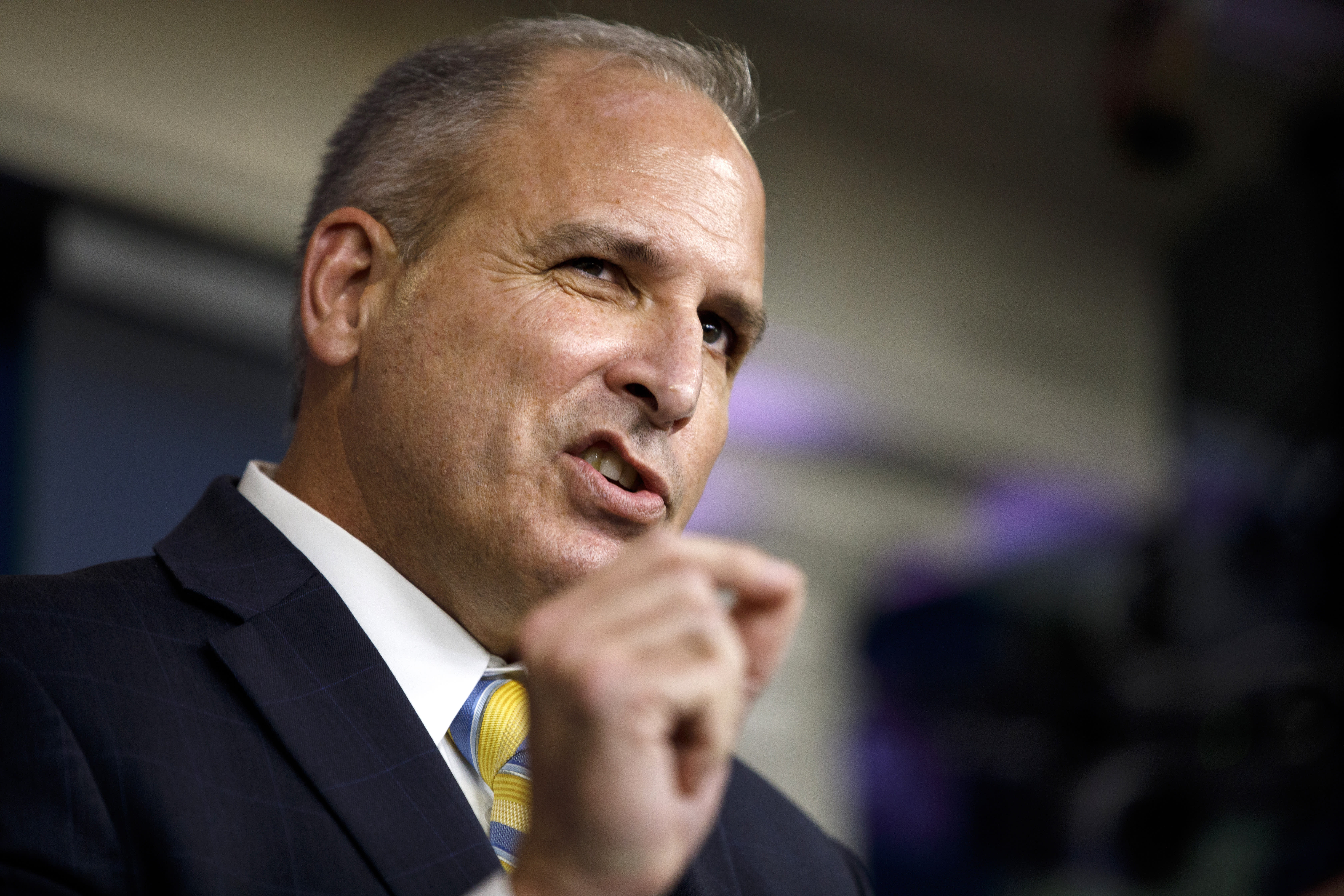 Acting Commissioner of Customs and Border Protection Mark Morgan speaks during a news conference at the White House in Washington, Monday, Sept. 9, 2019. (AP Photo/Carolyn Kaster)