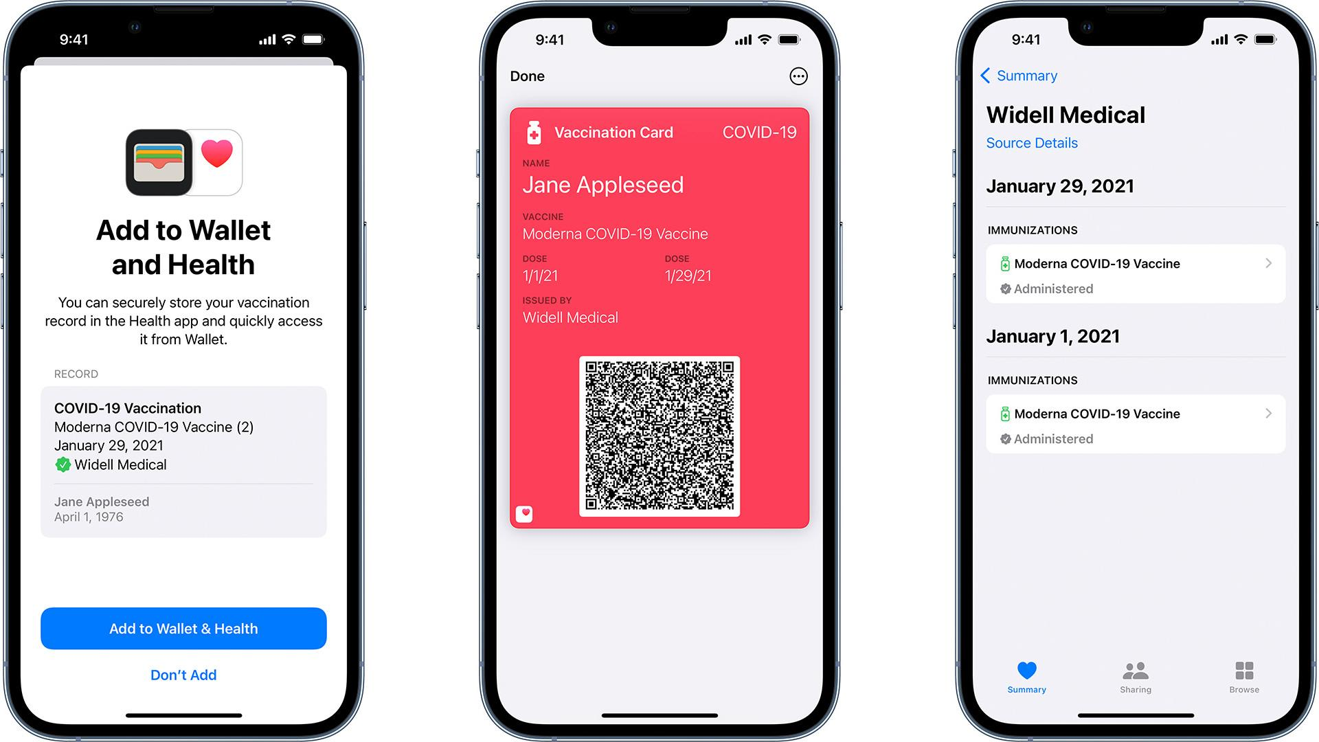 COVID-19 vaccination card in Apple Wallet and Health apps on iPhone