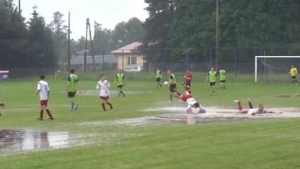 Unique soccer celebration for a wet day