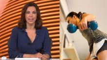 Ana Paula Araújo mostra treino em casa após 'Bom Dia Brasil'
