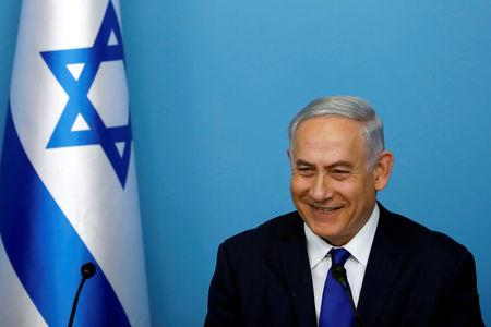 FILE PHOTO: Israeli Prime Minister Benjamin Netanyahu is seen during a news conference at the Prime Minister's office in Jerusalem