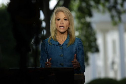 Conway participates in an interview with CNN at the White House last week. (Alex Wong/Getty Images)