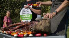 """Militantes veganos exibem """"churrasco de cão"""" junto à Torre Eiffel"""