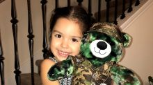 Little girl gets a teddy bear dressed like Army dad and makes the whole world cry