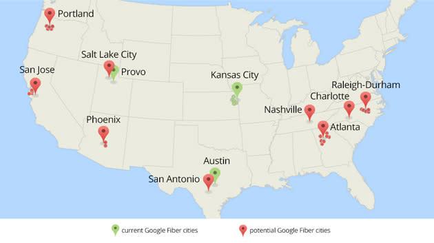 Google Fiber explores bringing gigabit internet to 34 new cities