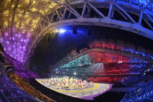 La ceremonia de apertura de los Juegos de Sochi (Rusia), en el Estadio Olímpico Fisht, el 7 de febrero de 2014
