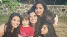 This picture of AbRam with sister Suhana and her girl friends proves that he is a ladies man just like daddy SRK!