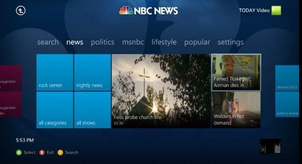 NBC News app for Xbox 360 brings streaming show clips to the console