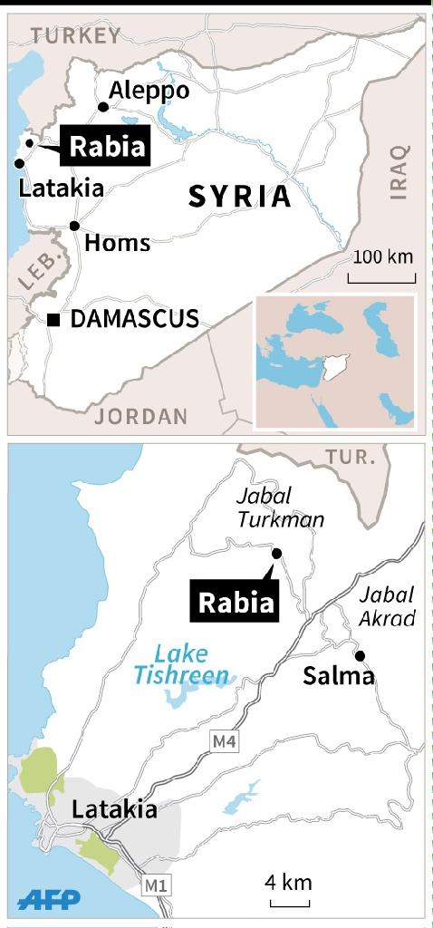 Map of Syria's Latakia region, locating the town of Rabia and the districts of Jabal Turkman and Jabal Akrad. On Sunday, Syrian government forces overran Rabia, the last major rebel-held town there. (AFP Photo/Sabrina Blanchard, Omar Kamal)
