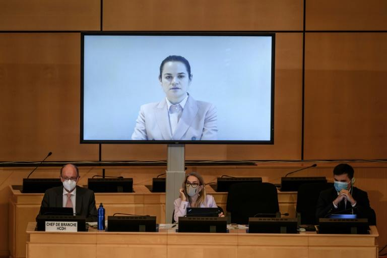 Belarus opposition leader Svetlana Tikhanovskaya speaks via video message to an urgent debate of the UN Human Rights Council