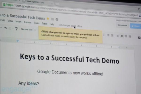 Google announces offline editing for Docs, available later today