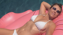 Elizabeth Hurley, 54, basks in the sun in striped bikini: 'Bliss'