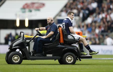 Scotland's Mark Bennett goes off injured