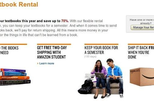 Amazon begins renting paper textbooks