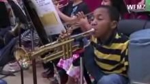 10-Year-Old With No Arms Plays Trumpet With Only His Feet