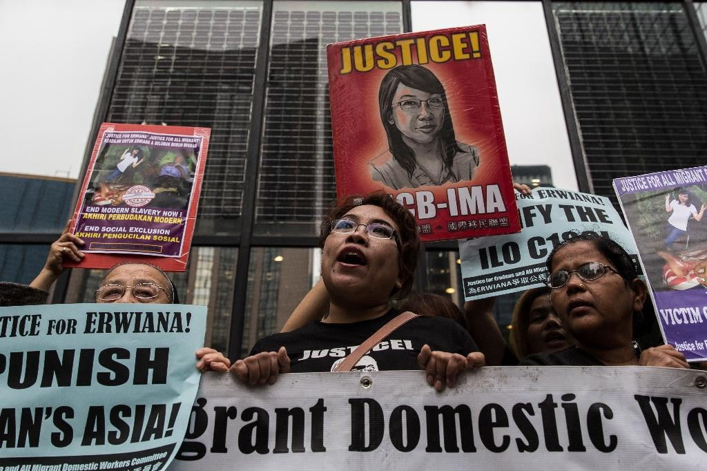 Erwiana's horrific ordeal made global headlines (AFP Photo/ANTHONY WALLACE)