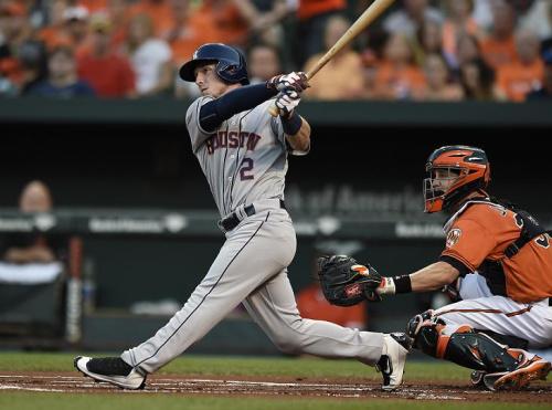 Alex Bregman follows through on a two-run home run against the Orioles on Saturday night. (AP)
