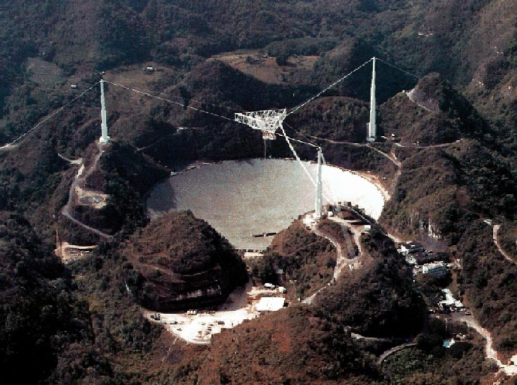The Arecibo radio telescope, pictured on July 2, 2003