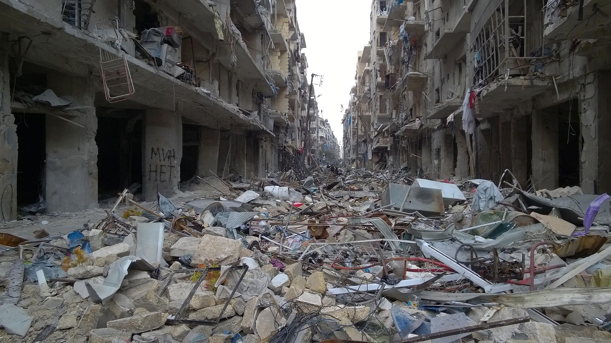 <p>the neighborhood of Karm al-Miasar in the eastern part of Aleppo is seen after Syrian government forces retook the entire embattled city on Dec. 23, 2016. Russia's Defense Minister Sergei Shoigu said that the evacuation of rebel fighters from the Syrian city of Aleppo was completed. (Photo: Abdullayev Timur/TASS via ZUMA Press) </p>