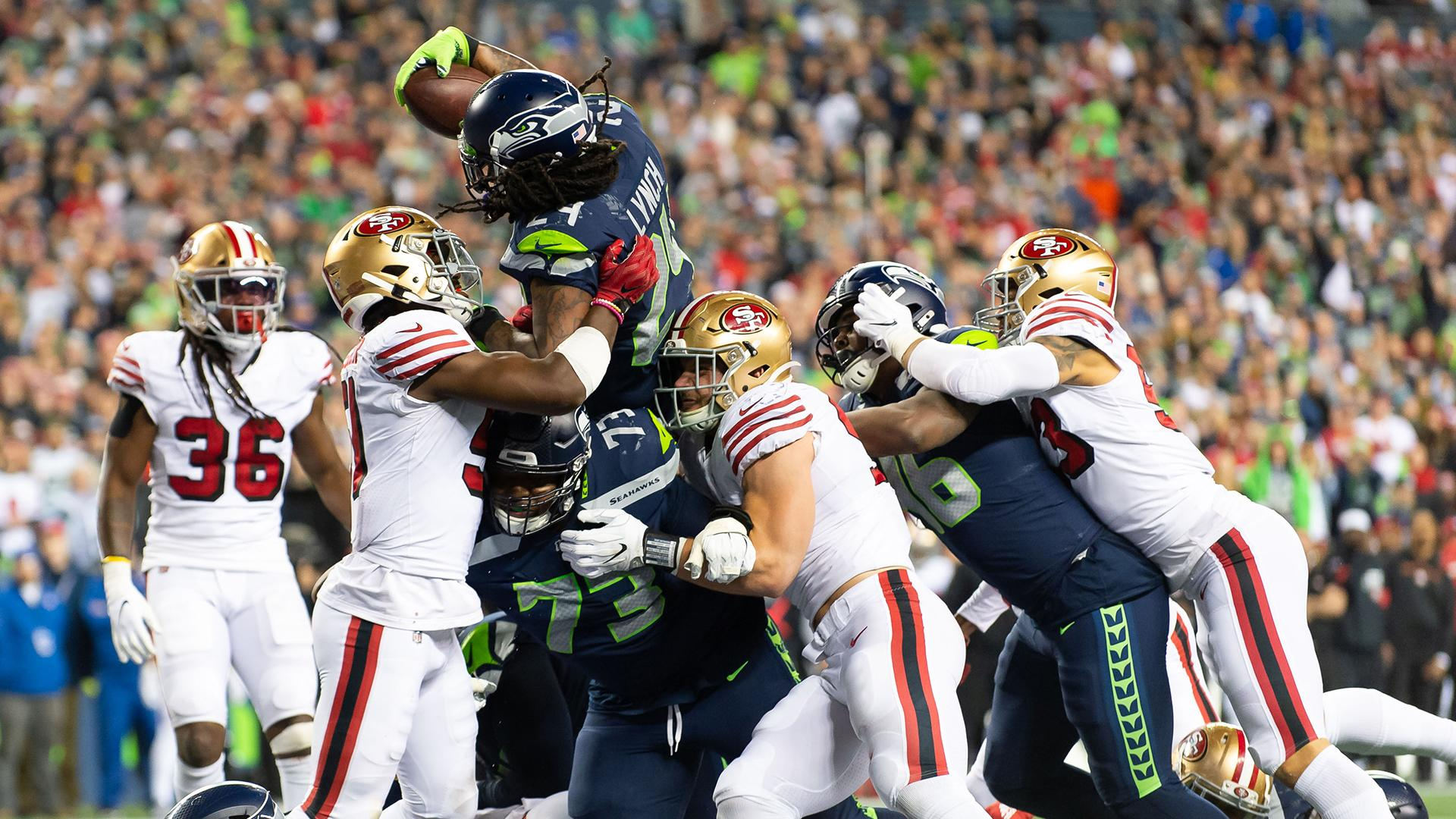 Watch Marshawn Lynch score TD vs. 49ers in first game back ...