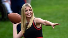 Ivanka Trump Plays Football in a Gucci Dress and Mary Janes at White House 'Field Day'