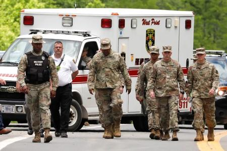 Lieutenant General Darryl A. Williams, Superintendent of the United States Military Academy at West Point walks to a news conference after accident in Highland Mills
