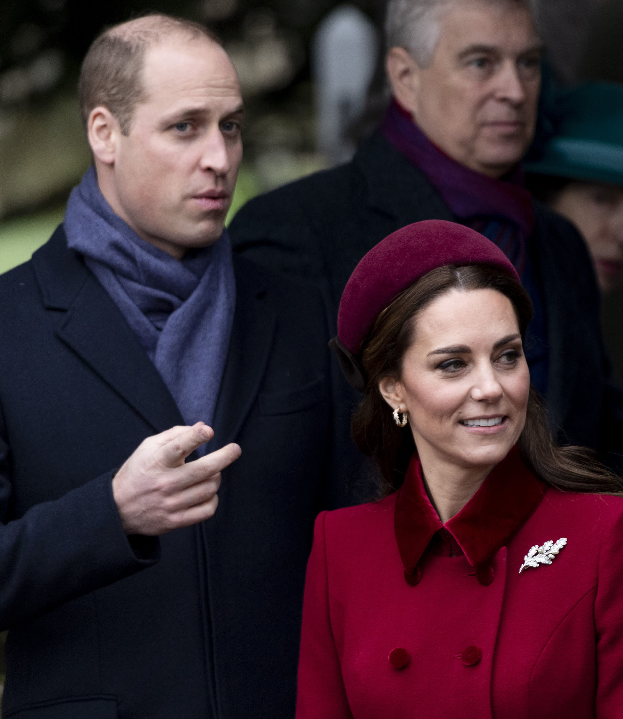 KING'S LYNN, ENGLAND - DECEMBER 25: Prince William, Duke of Cambridge and Catherine, Duchess of Cambridge attend Christmas Day Church service at Church of St Mary Magdalene on the Sandringham estate on December 25, 2018 in King's Lynn, England. (Photo by Mark Cuthbert/UK Press via Getty Images)