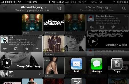Twitter #Music for iOS now displays tweets on #NowPlaying feed, lets you interact with them