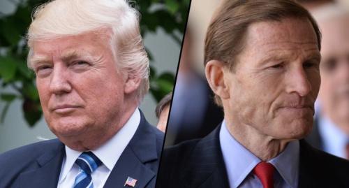 President Donald Trump, left, and Sen. Richard Blumenthal, D-Conn. (Photos: Cheriss May/NurPhoto via Getty Images, RJ Sangosti/The Denver Post via Getty Images)