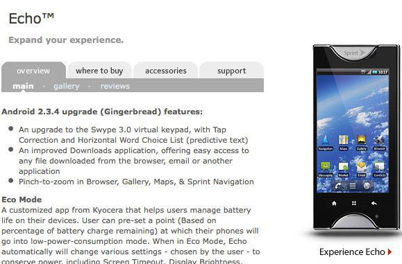 Kyocera Echo Gingerbread update now rolling out, may brick  (update: rollout pause)