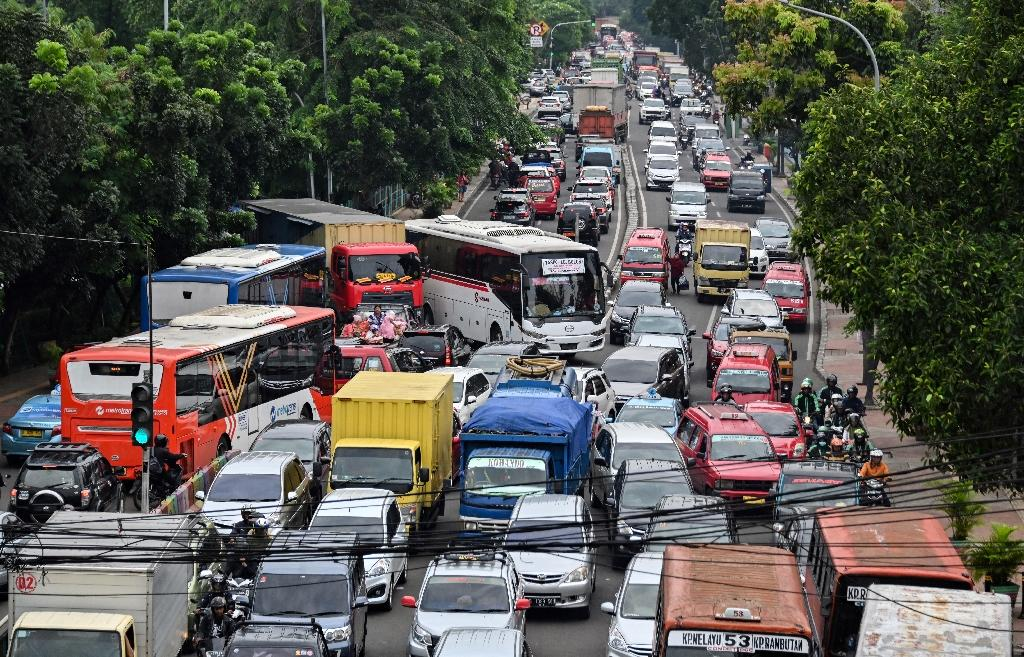 Authorities hope that the line linking central and southern Jakarta will cut carbon emissions and provide commuters some respite from the city's notorious traffic jams (AFP Photo/BAY ISMOYO)