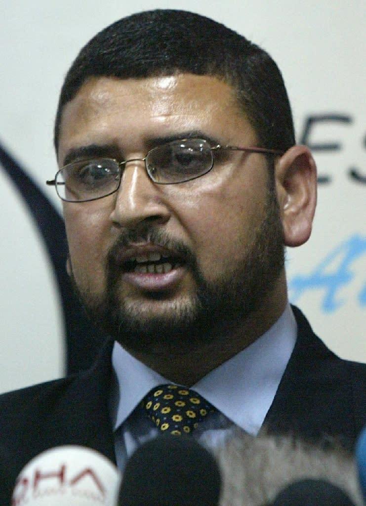 Islamist fundamentalist group Hamas' spokesman, Sami Abu Zuhri, speaks during a news conference in Gaza City 31 May 2005 (AFP Photo/Mahmud Hams)
