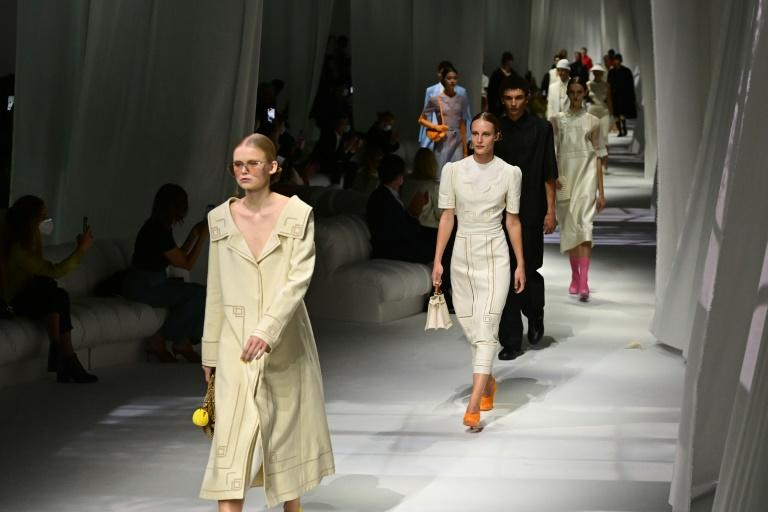 Fendi's collection was inspired by the finely embroidered household linen owned by designer Silvia Venturini Fendi's family