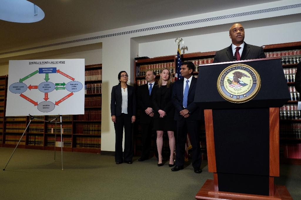 US Attorney Robert Capers speaks on December 17, 2015, to announce the unsealing of an indictment charging Martin Shkreli (AFP Photo/Jewel Samad)