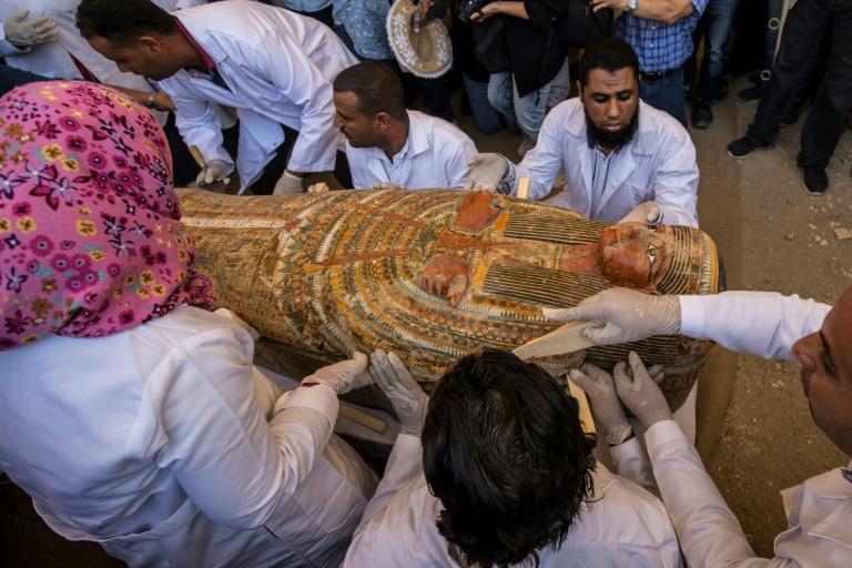 Archaeologists open ancient coffins discovered in Egypt