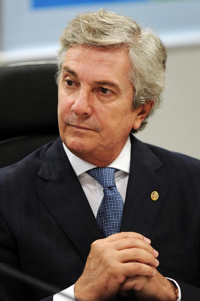 Former Brazilian president Fernando Collor de Mello, pictured on May 10, 2012, was charged in connection with the huge Petrobras corruption scandal (AFP Photo/Evaristo Sa)