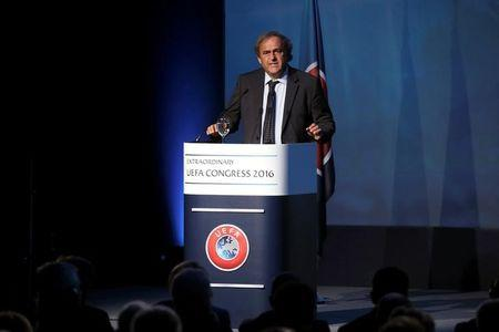 FILE PHOTO: Former UEFA President Michel Platini speaks before the election of the new UEFA President in Athens