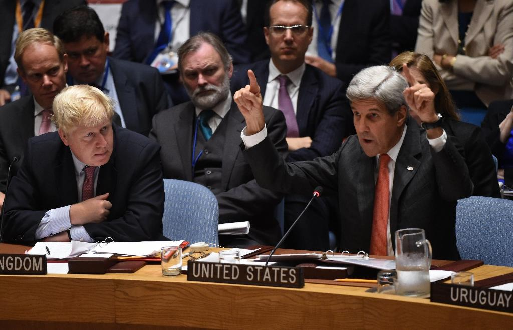 US Secretary of State John Kerry demanded at the UN Security Council that Russia force Syria to ground its air force, which Washington blames for attacking an aid convoy (AFP Photo/Timothy A. Clary)