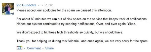 Google+ runs out of disk space, floods inboxes with notification spam