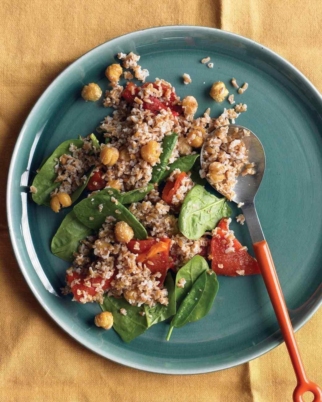 ... Monday: Bulgur with Roasted Red Peppers, Chickpeas, and Spinach
